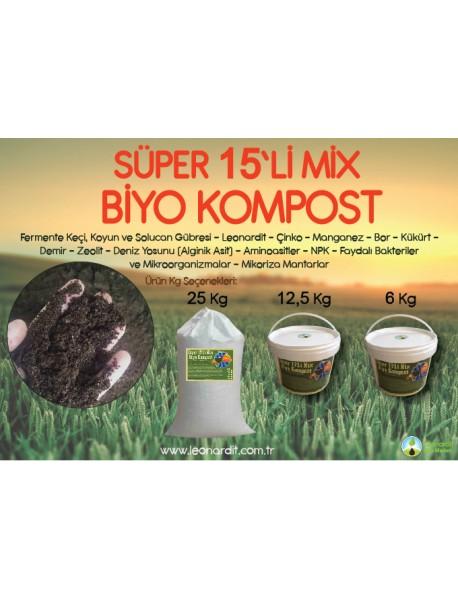 Süper 15'li Mix Biyo Kompost 25 Kg